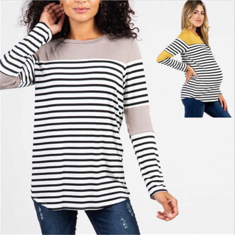 3037bac800e ... 2019 Newly Women Maternity Clothes Nursing Tops Tshirt Breastfeeding  Tops Splice Pregnancy Striped Tops ...