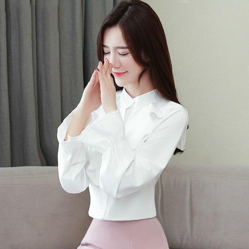 White Blouse Women Chiffon Office Shirts Tops 2019 Fashion Casual Stand Collar Ruffles Long Sleeve Blouses Femme Blusa