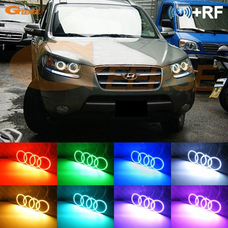 e2938a2f3efbb ل هيونداي سانتا في سانتافي 2007 2008 2009 2010 2011 2012 RF وحدة تحكم  بلوتوث متعددة اللون RGB led عيون الملاك كيت