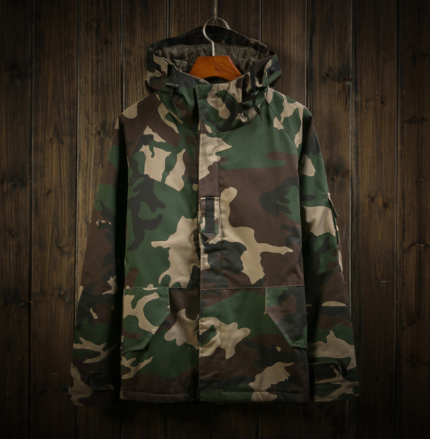 Winter Hooded Plus Size Camouflage Full Sleeve Windbreaker High Quality Thermal Men's Hooded Windbreaker Parka Plus Size