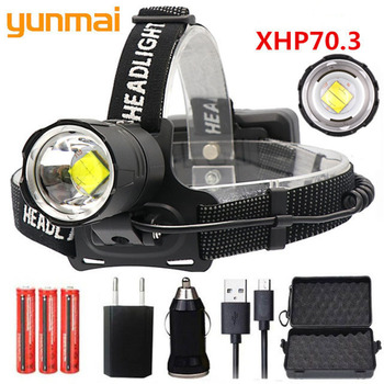 NEW XHP70.3 LED 32W zoom Led headlamp 8000lm SUPER bright powerful head lamp flashlight lantern for running use 3*18650 battery image