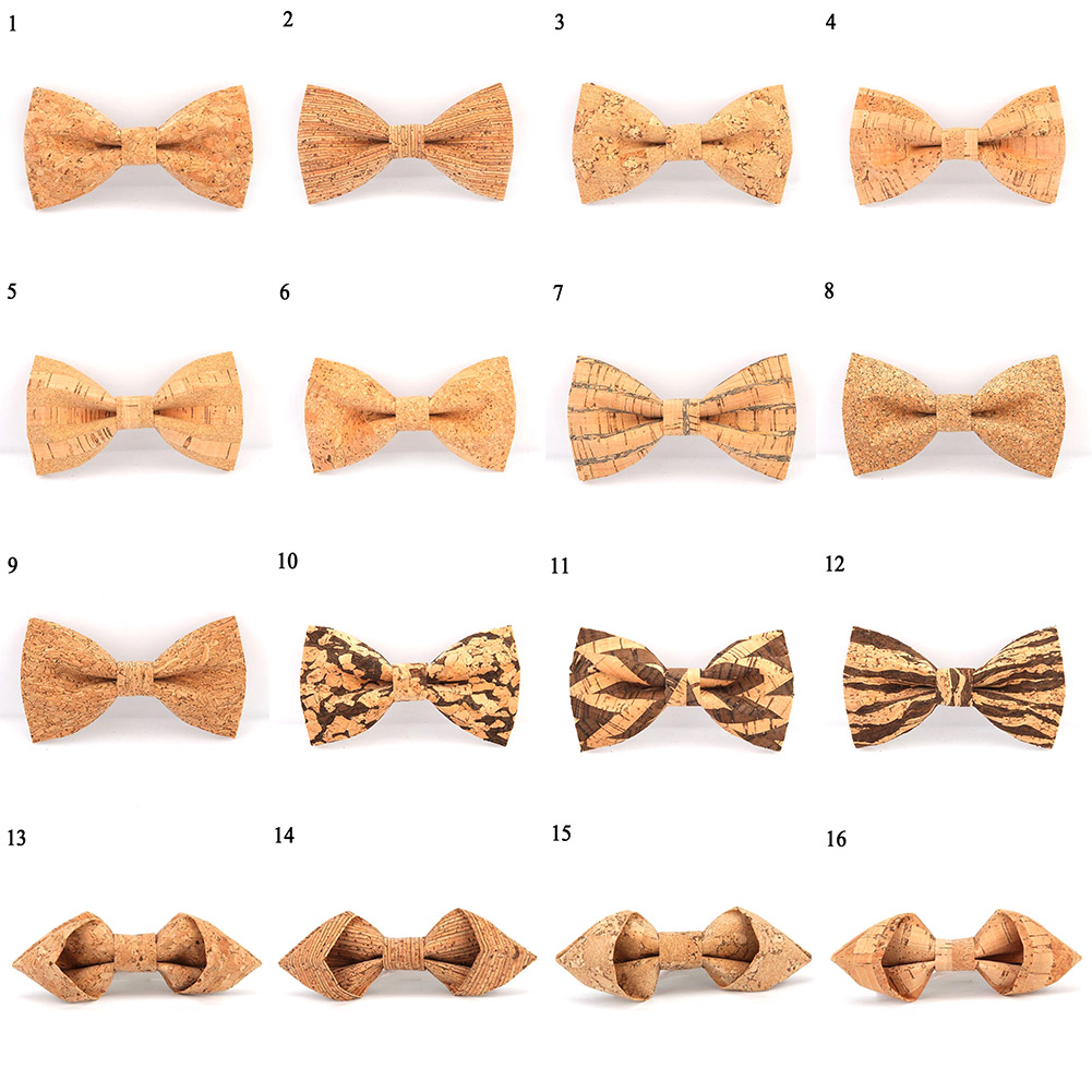Cork Wooden Bow Tie Men's Novelty Handmade Solid Bowtie Wedding Party Print Neckwear Male New Style Blazer Bow Ties 25colors Hot