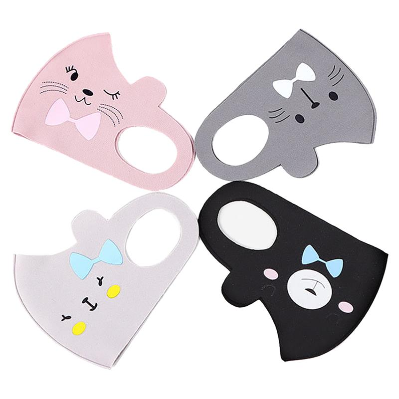 4pcs Dustproof Breathable Mask Cartoon Printing Cute Cat Bear Children Mouth Mask Kids Breathable Mask Clothing Accessories