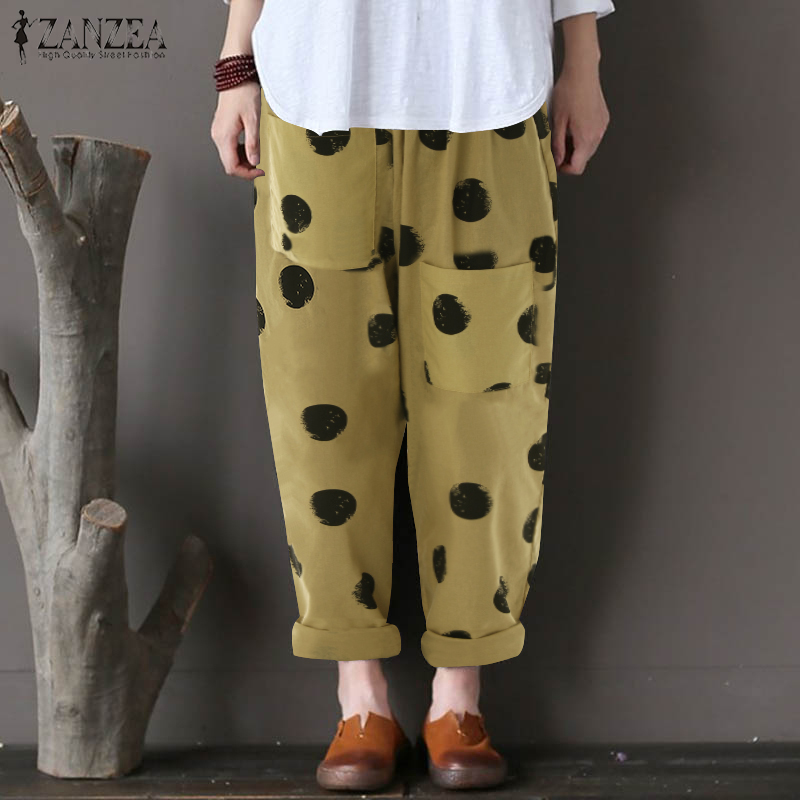 Women Pants 2019 Summer Zanzea Female Cotton Linen Vintage Dot Print Harem Pants Loose Trousers Pockets Pantalon Femme Plus Size