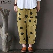 Women Pants 2019 Summer ZANZEA Female Cotton Linen Vintage Dot Print Harem Loose Trousers Pockets Pantalon Femme Plus Size