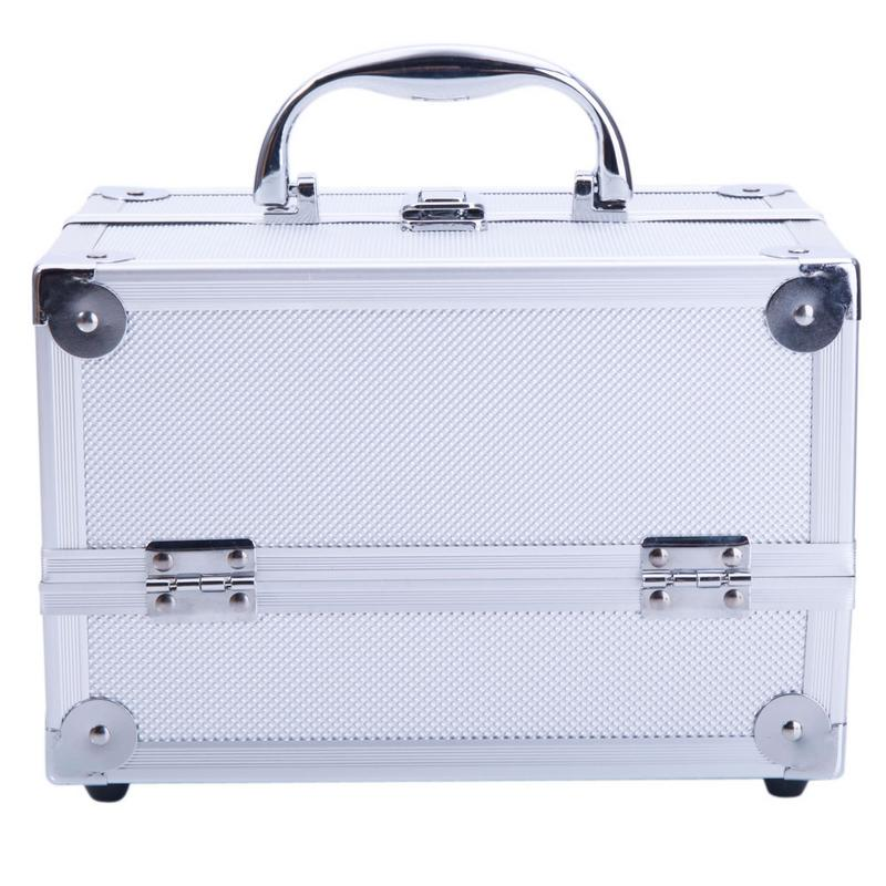 Professional Cosmetic Bag Travel Storage Cosmetic Aluminum Train Case Jewelry Box Mirror Silver Makeup Trolley Foldable Travel