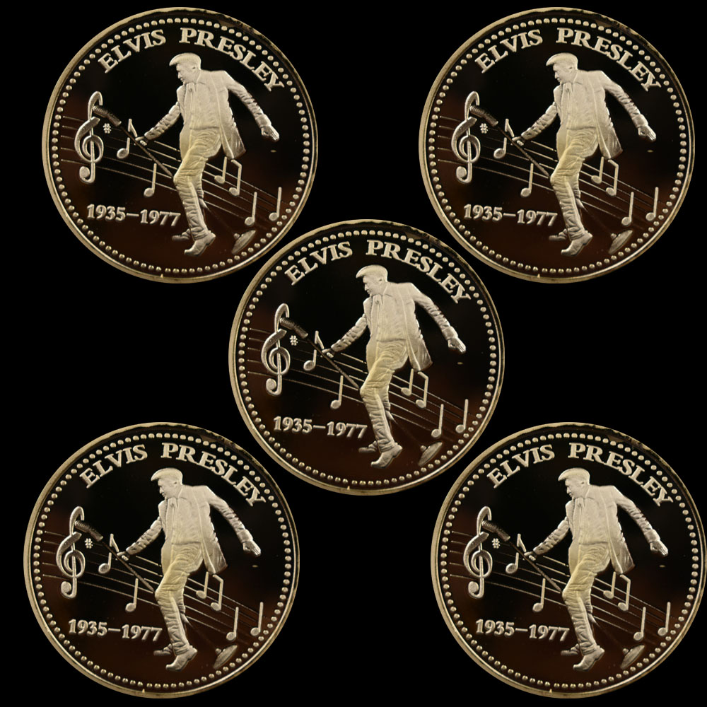 Elvis Presley 1935-1977 The King of N Rock-Roll Gold Art Commemorative Coin/&F VG