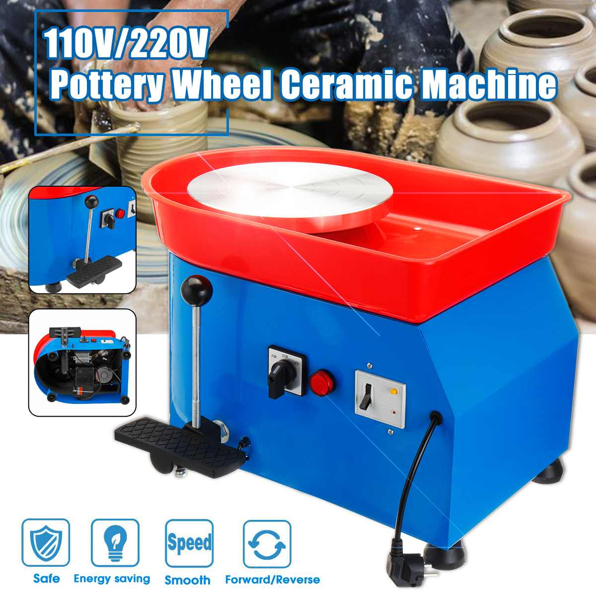 US Plug 350W 110/220V Electric Pottery Wheel Ceramic Machine Pottery Forming Machine DIY Clay Tool Ceramic Work Ceramics Clay