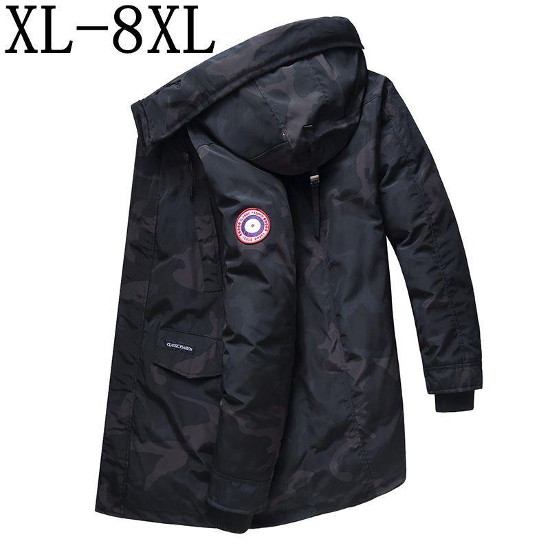 2018 nouveau Long hiver manteau hommes épais chaud hiver vestes décontracté Parka vêtements à capuche coton-rembourré veste taille 6XL 7XL 8XL