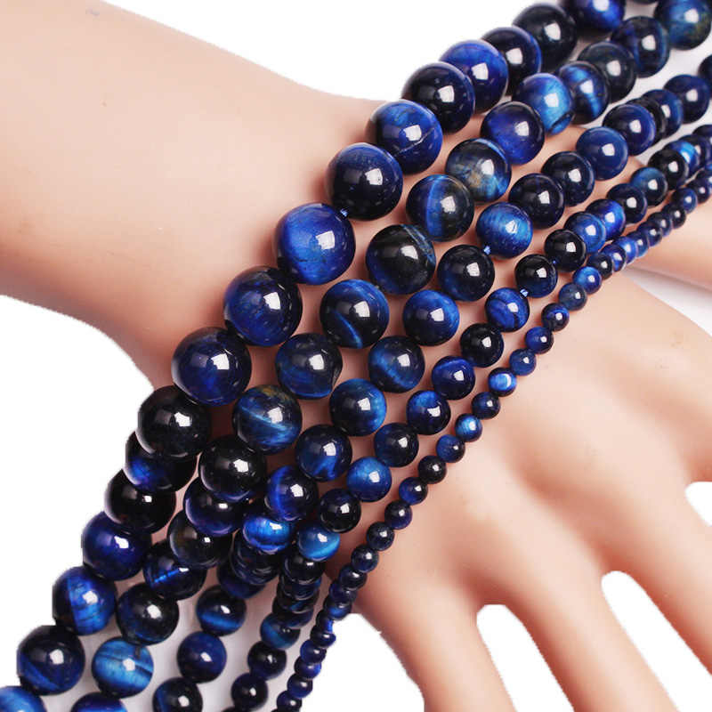 טבעי אבן כחול לפיס לזולי עין נמר חרוזים עגול Agates Loose חרוזים צמיד שרשרת ביצוע 4 6 8 10 12 14 16mm