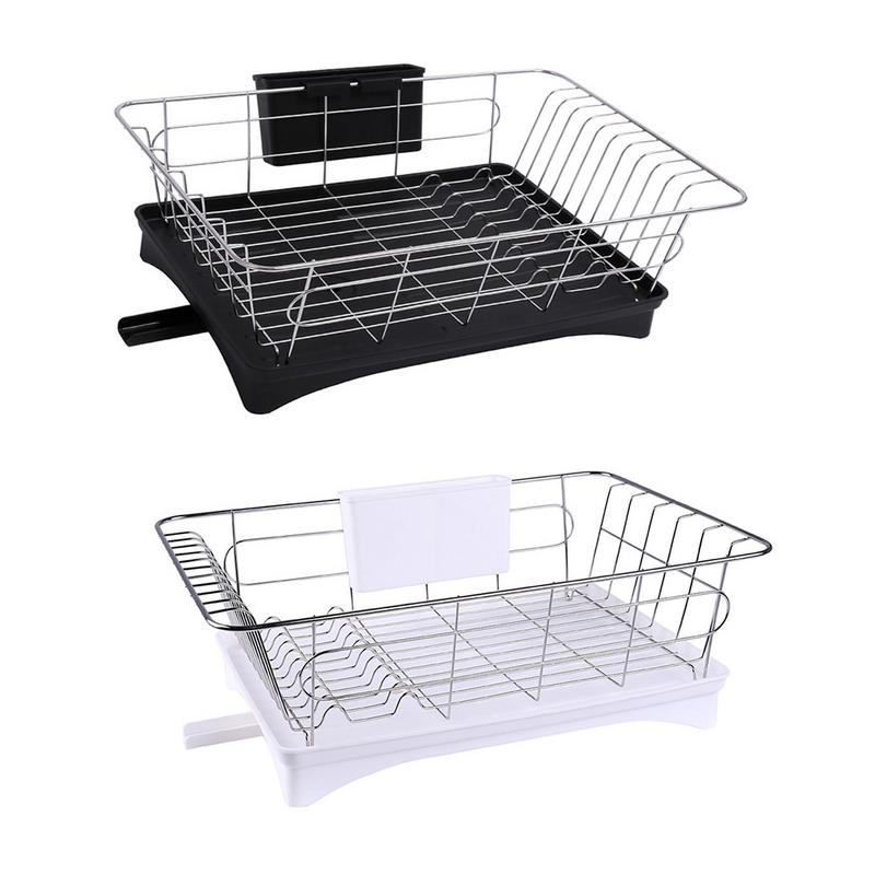 Stainless Steel Dish Drainer Drying Rack With 3-Piece Set Removable Rust Proof Utensil Holde For Kitchen Counter Storage Rack
