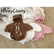 2018 Baby Cute Little Bear Ears Plus Velvet Clothing Baby Girl Clothes Children Pink Bodysuit Baby Girl Clothes Baby Bodysuits cheap HoneyCherry Fashion Unisex Solid Full Hooded Fits true to size take your normal size Cotton