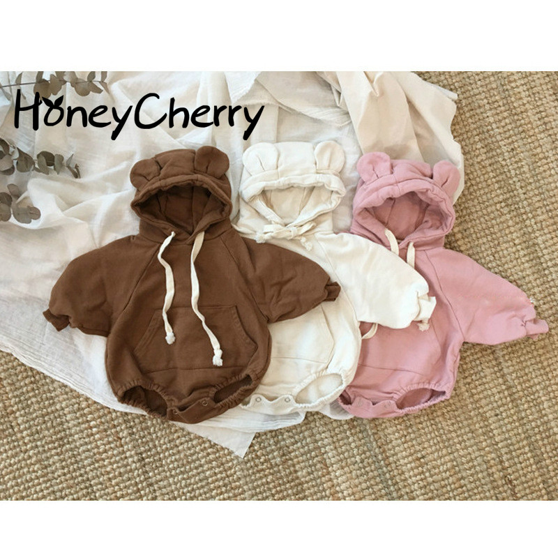 2020 Baby Cute Little Bear Ears Plus Velvet Clothing Baby Girl Clothes Children Pink Bodysuit Baby Girl Clothes Baby Bodysuits