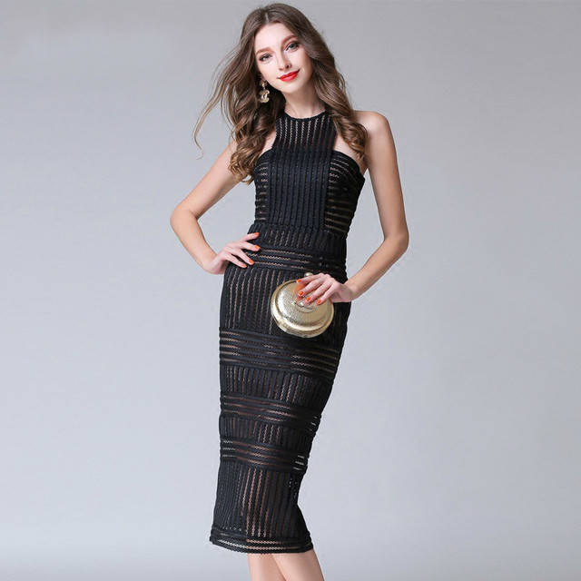 #2791 Summer Sleeveless Sexy Round Neck Off Shoulder See Through Dress Women Office Pencil Dress Hollow Out Elegant Bodycon S-L