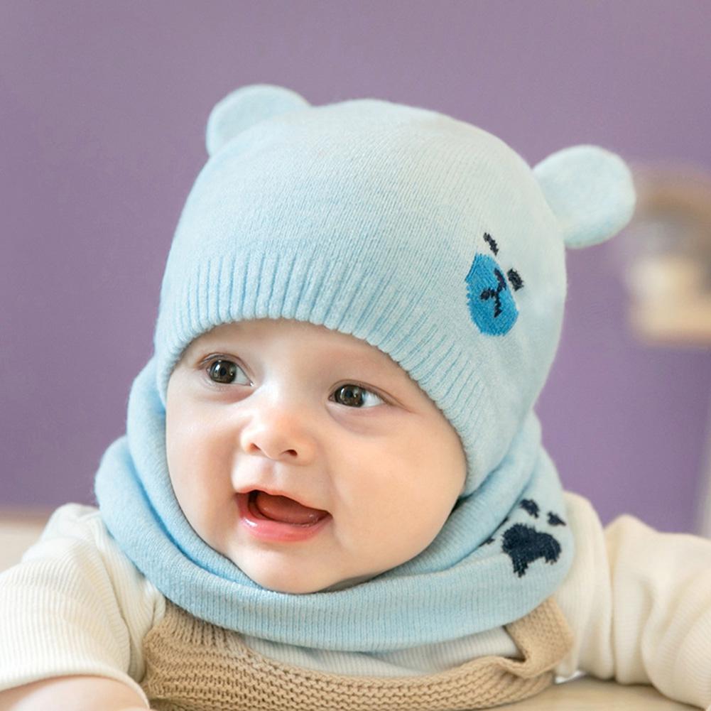 MISSKY 2PCS/Set Newborn Children Warm Knitted Cap + Neck Gaiter Cute Cartoon Scarf Hat Neck Warmer Suits