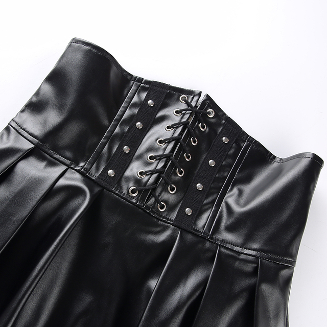SUCHCUTE Women's Skirts Gothic Harajuku Bandage Faux Leather Korean Fashion Black Mini Pleated Skirts 2019 Summer Party Pu Saias 6
