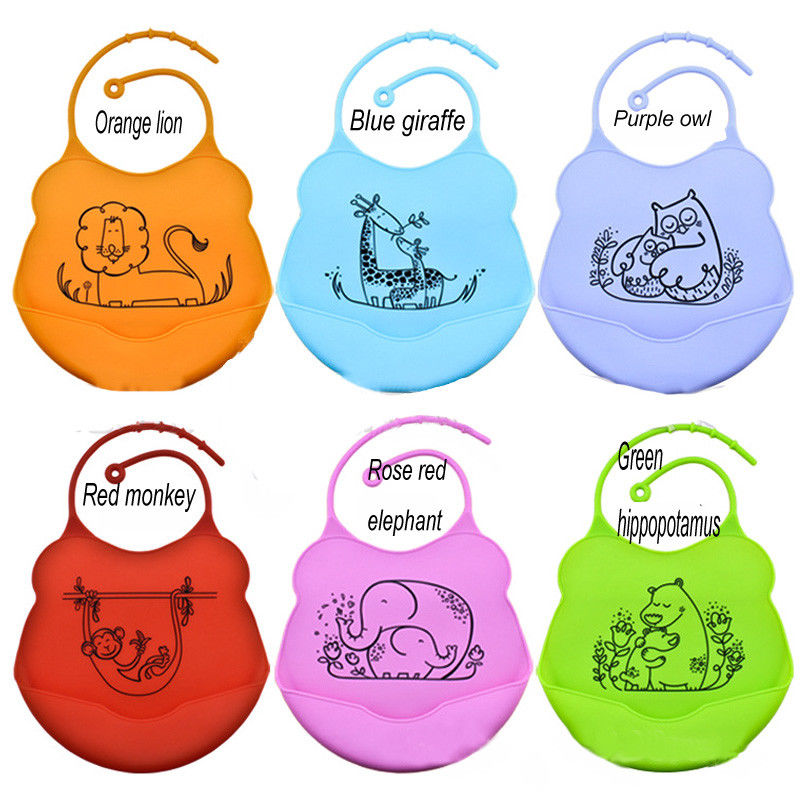 Lovely Infant Baby Kids Silicone Cartoon Bib Baby Lunch Feeding Bibs Waterproof