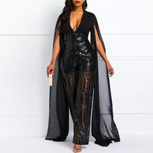 Sequins Sexy Jumpsuit Women Elegant Deep V Backless Rompers Evening Spring Fashion Mesh Sleeve Design Party Wide Leg Jumpsuits(China)
