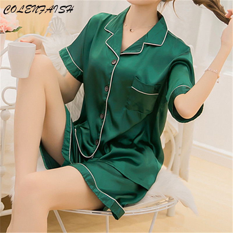 Summer Large Size M-5XL Women's Pajamas Short Silk Pijama Mujer Home Suit Leisure Comfort Sleepwear Femme Home Clothes For Women