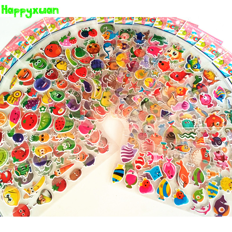 Happyxuan 24 Sheets Cute Puffy Stickers For Kids Rewards Girls Cartoon Fruit Vegetables Mixed Sea Fish Preschool Learning Toy