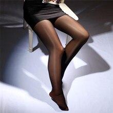 Collants Sexy et brillants à l'huile pour femmes, bas sans couture, en Nylon, Super élastique, en soie, pour les médias
