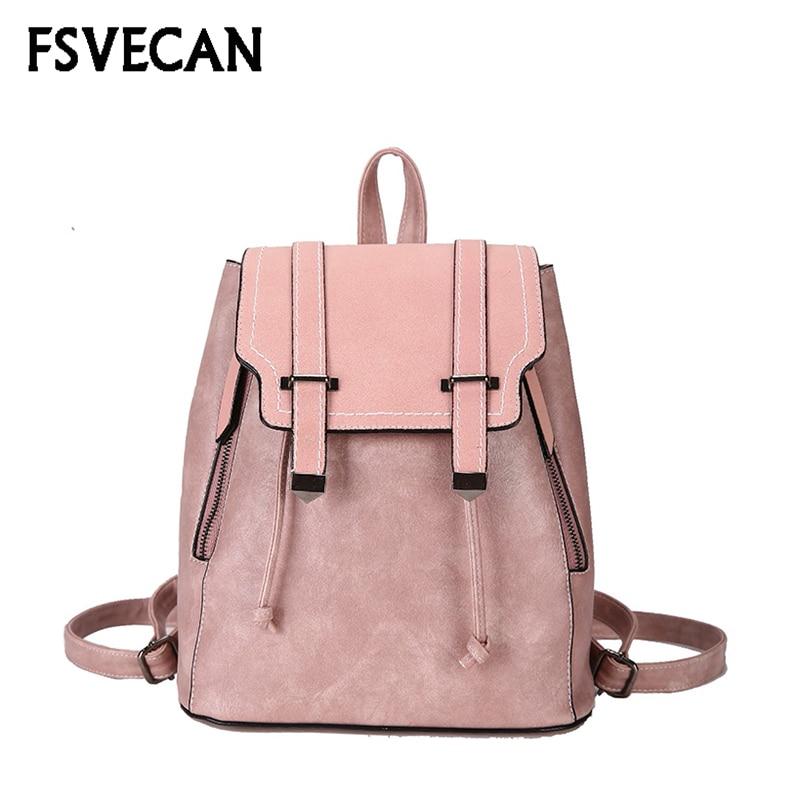 Korean Fashion Style Female Travel Backpack Women Pu Leather College Bags Leisure Backpacks Teenage Girl Shoulder Backpack 2018