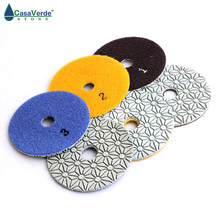 DC-SFDW3PP02 diamond 4 inch dry/wet 3 step polishing pads for Engineered stone(China)