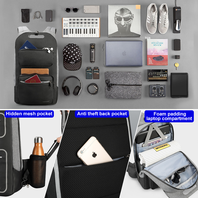 Tigernu Brand Quality Fashion School Backpack For Men 15.6inch Student College Male Mochila USB Charging Men Backpack Anti theft 2