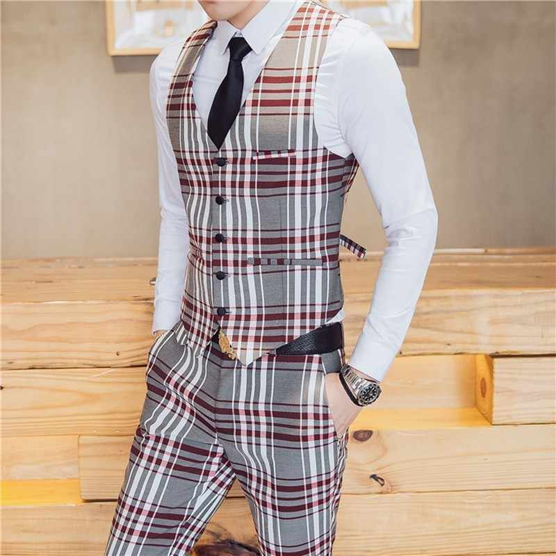 Мужские костюмы в британском стиле, новейший дизайн пальто, брюки, мужской костюм, приталенный, в клетку, для сцены, свадебного платья, смокинги
