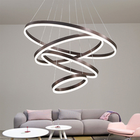 Umeiluce Modern LED Ring Pendant Lights Brown Finished Acrylic Haning Lamp Metal Light Fixture for Bed Dining Living Room
