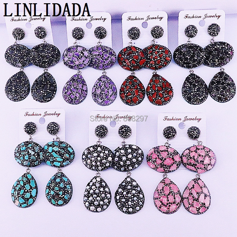 4Pair New Design Natural Stone Pendant Charm Pave Rhinestone Beads Dangle Earrings For Women