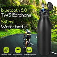 580ml Bicycle Water Bottle Outdoor Sport Cycling Camping Drinking Bottle 2 IN 1 +TWS Wireless bluetooth 5.0 Waterproof Earphone