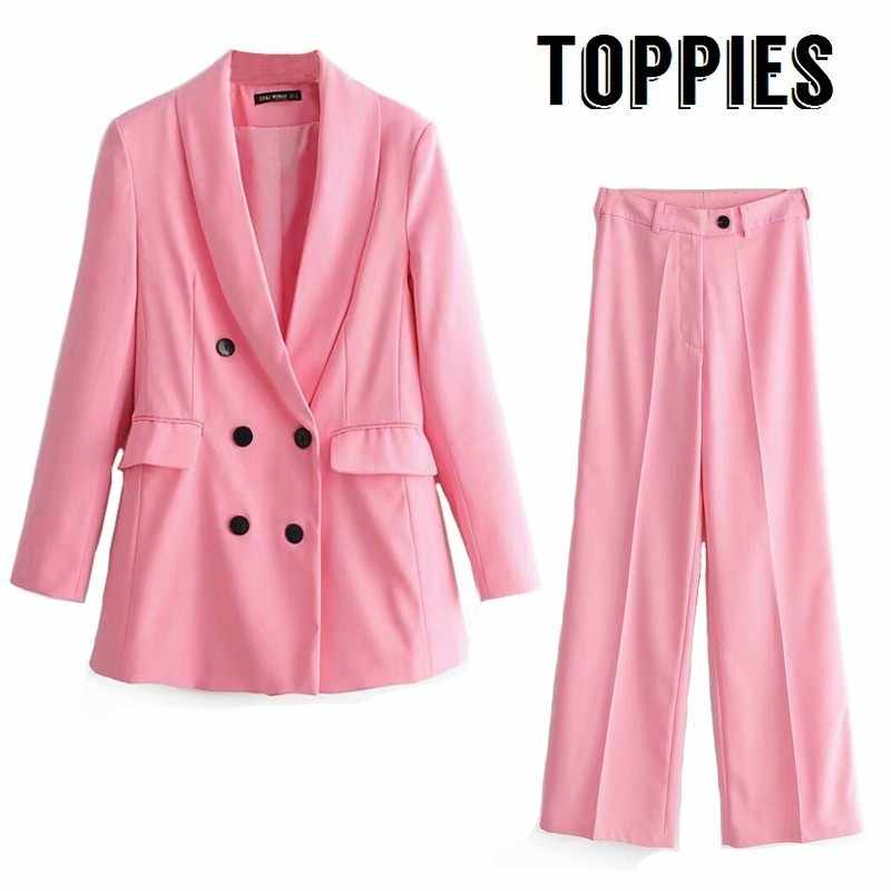 Pink Blazer 2019 Office Lady Suit Set Double Breasted Long Blazer Jacket High Waist Straight Pants