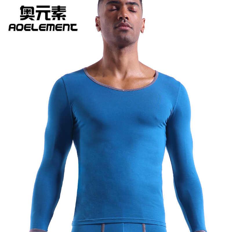 Erkek iç çamaşırı temel tek pamuklu kazak ince sıcak sonbahar giyim Ince uzun kollu gömlek uzun john erkekler termal mens dipleri