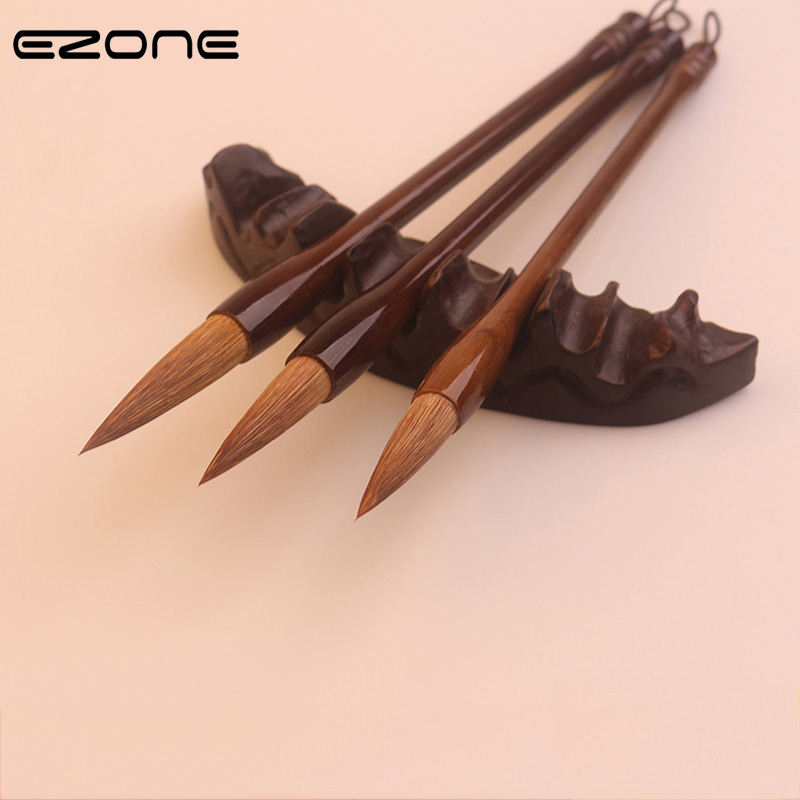 EZONE Wooden Writing Brush Chinese Calligraphy Practice Weasek Wolf Hair Brush For Watercolor Ink Painting Regular Script Supply