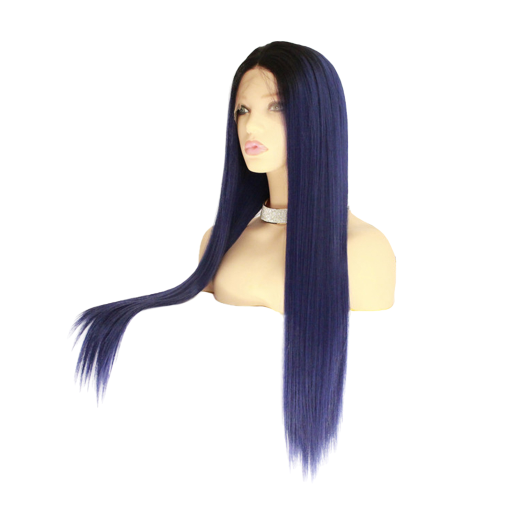 26 inch Synthetic Lace Front Wigs Resistant Full Wig Long Straight Hair Blue 26 inch synthetic lace front wigs heat resistant full wig long straight hair brown
