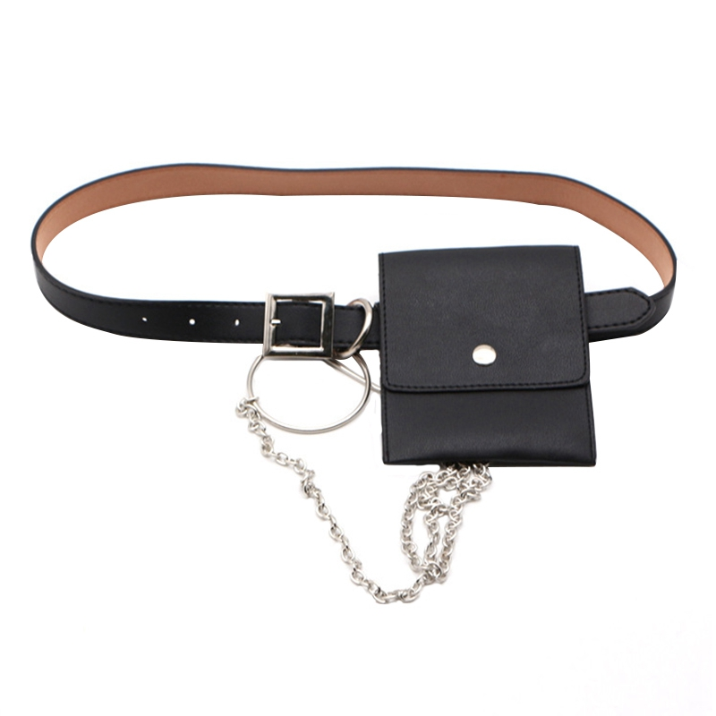 Women Waist Bag Leather Female Belt Chain Bags Fashion Fanny Pack Waist Belt Bag Female Hip Belt Bum Pouch Phone Bags (Black)