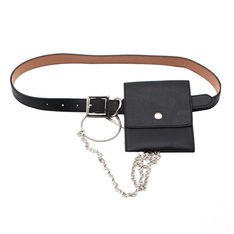 Women Waist Bag Leather Female Belt Chain Bags Fashion Fanny Pack Waist Belt Bag Female Hip Belt Bum Pouch Phone Bags (Black)