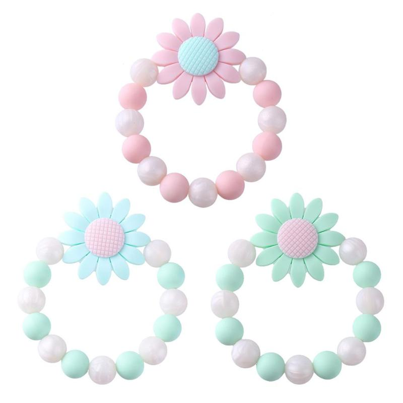 Flower Baby Bracelet Rattle Elastic Silicone Beads Bangles Baby Teether Baby Ring Silicone Chew Charms Baby Teething Gifts