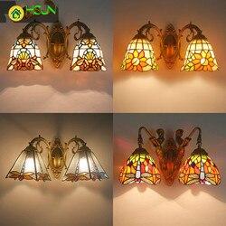 Nordic romantyczny kolorowe szkło abażur kryty kinkiet sypialnia lampki nocne lampy Asile turecki uchwyt światła z syrenka baza