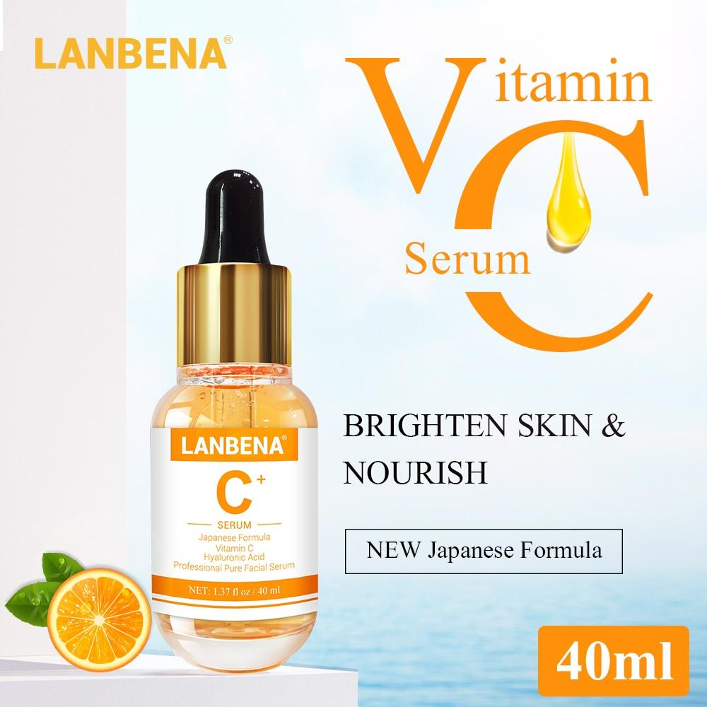 LANBENA Vitamin C Serum 40ml Whitening Facial Essence Remover Speckle Fade Dark Spots Brighten Nourishing Face Cream Skin Care