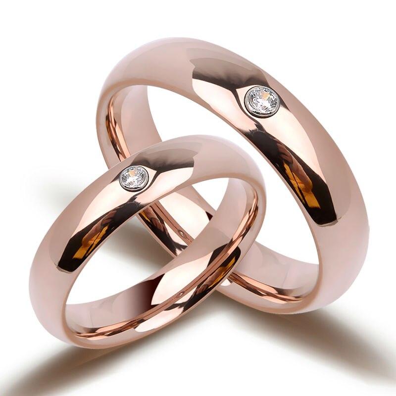 Bohême dôme bande or Rose tungstène anneaux de couple avec des pierres CZ brillantes 3.5mm/5mm de largeur pour cadeau de mariage taille 4-11