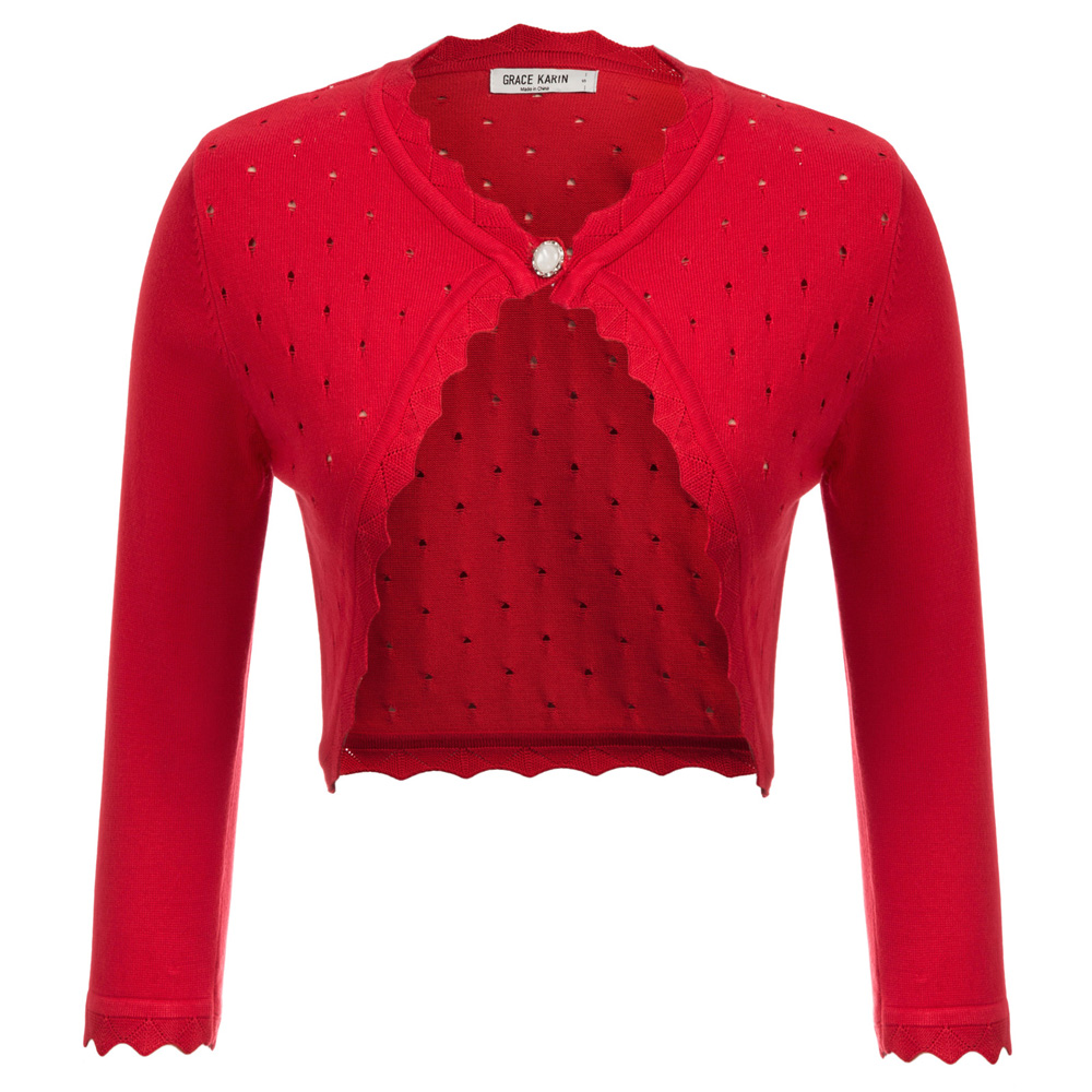 GK Open Stitch Knitwear Women 3/4 Sleeve One-Button Shrug Bolero Hollowed-out Knitting Coat Sweater Solid Color Short Jacket Top