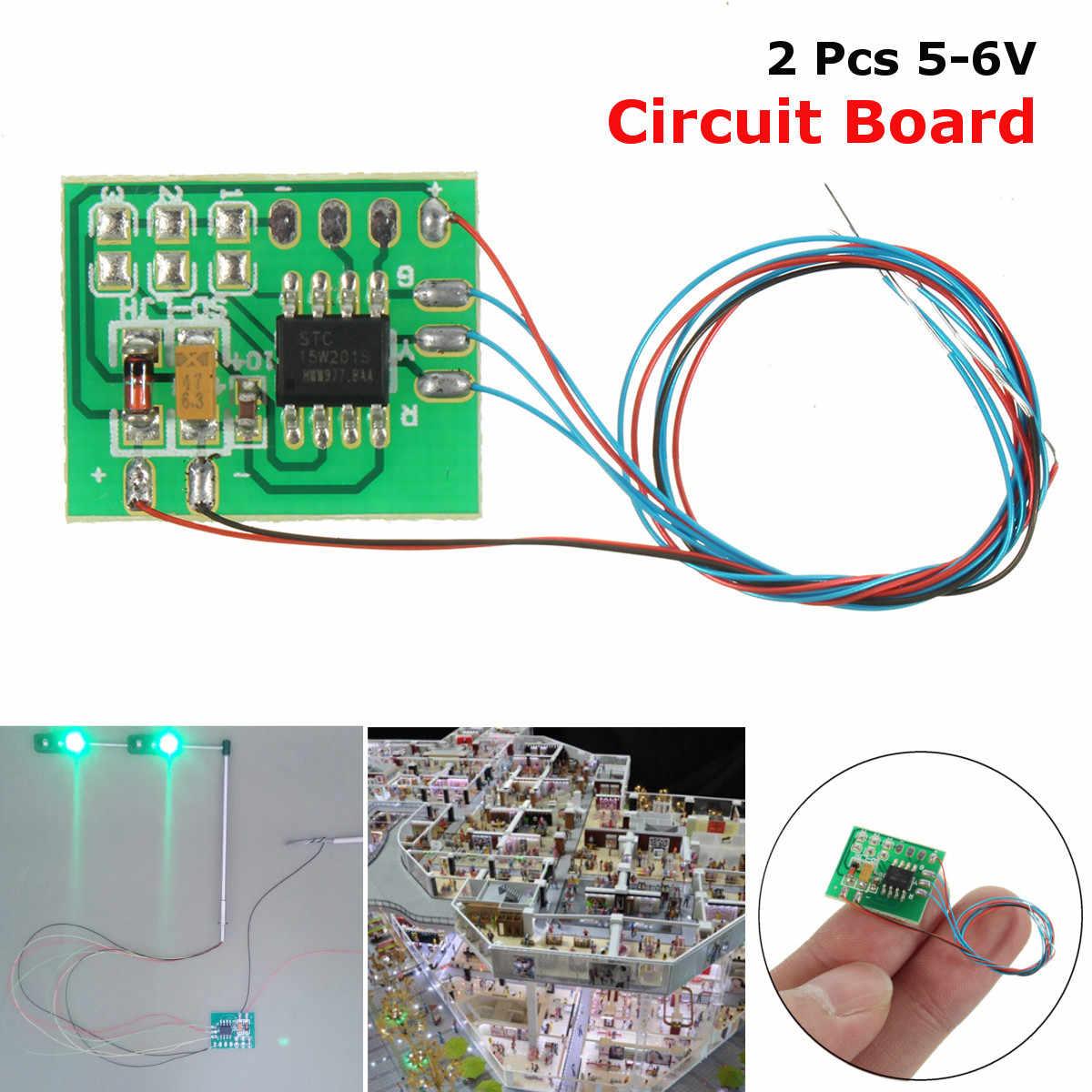 2 sztuk DIY skala piasek budowlany tabeli modelu sygnalizacji świetlnej modelu sygnału płytka obwodowa LED HO skala pociągu kolejowego miniatury