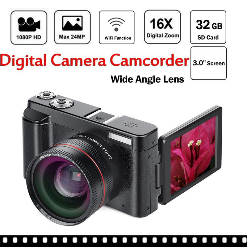 """2018 Digital Camera Video Camcorder Full HD 1080P 24.0MP Camera With Wide Angle Lens And 32GB SD Card, 3.0"""" ScreenWiFi Function"""
