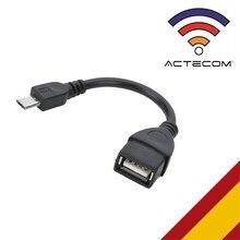 ACTECOM Cable Adaptador OTG On The Go Micro B Macho a USB Tipo A Hembra Negro para Samsung Galaxy S7 S6 Xiaomi Redmi Note 6 Pro