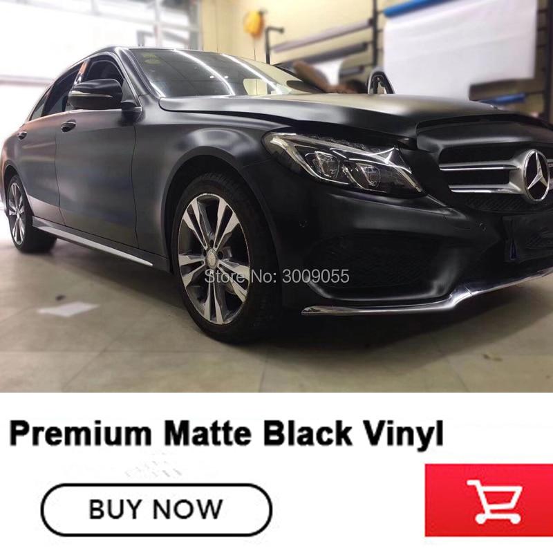Haut de gamme super mat noir emballage Film housse de voiture en vinyle noir Mat vinyle à base de solvant faible tack initial adhésif Non- bas de gamme