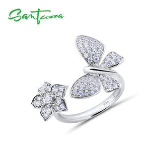 Image 1 - SANTUZZAแหวนเงิน925เงินสเตอร์ลิงGorgeousแหวนผีเสื้อสีขาวเงาCubic Zirconiaแฟชั่นเครื่องประดับ
