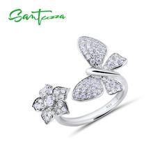 Santuzzaシルバーリング女性のための925スターリングシルバー調節可能なゴージャスな蝶リング光沢のあるホワイトキュービックジルコニアファッションジュエリー