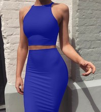 Sexy Summer Two Piece Sets Slim Night Club Suits  Crop Tops Sheath Set Mini Bandage